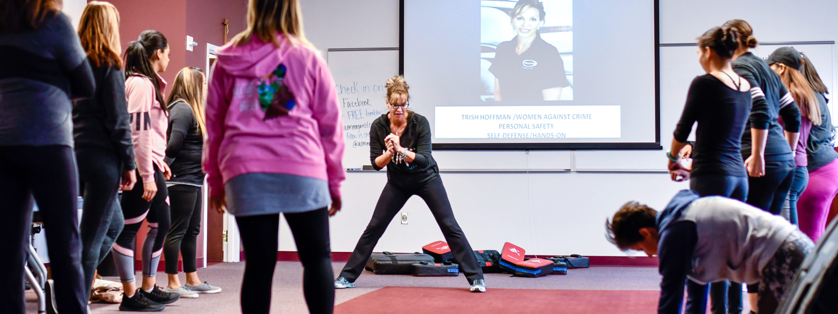 Trisha Hoffman teaching a self-defense class to women in Albuquerque.
