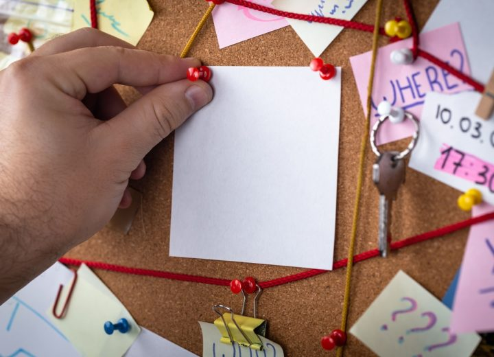 Conspiracy theory board with red string linking pieces of evidence