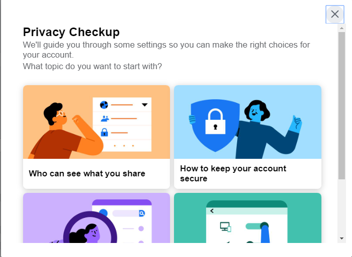 A screenshot of the Facebook privacy check up